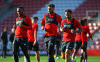 SOUTHAMPTON, ENGLAND - NOVEMBER 08: LtoR Ryan Bertrand, Charlie Austin, Danny Ings during a training session at St. Mary's Stadium on November 8, 2018 in Southampton, England. (Photo by James Bridle - Southampton FC/Southampton FC via Getty Images)