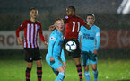 SOUTHAMPTON, ENGLAND - NOVEMBER 09: Tyreke Johnson (middle) during the Premier League 2 match between Southampton FC and Newcastle United pictured at Staplewood Complex on November 09, 2018 in Southampton, England. (Photo by James Bridle - Southampton FC/Southampton FC via Getty Images)