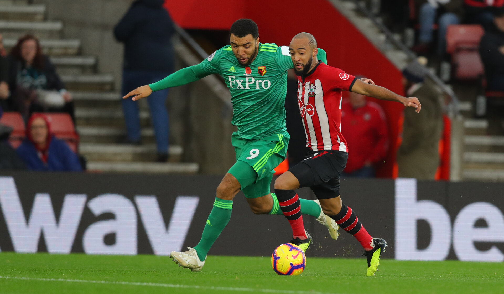 SOUTHAMPTON, ENGLAND - NOVEMBER 10: Nathan Redmond(R) of Southampton and Troy Deeney of Watford during the Premier League match between Southampton FC and Watford FC at St Mary's Stadium on November 10, 2018 in Southampton, United Kingdom. (Photo by Matt Watson/Southampton FC via Getty Images)