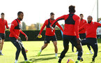 SOUTHAMPTON, ENGLAND - NOVEMBER 13: LtoR Ryan Bertrand, Charlie Austin, Nathan Redmond during a Southampton FC training session at Staplewood Complex on November 13, 2018 in Southampton, England. (Photo by James Bridle - Southampton FC/Southampton FC via Getty Images)