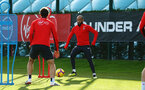 SOUTHAMPTON, ENGLAND - NOVEMBER 13: Nathan Redmond (middle) during a Southampton FC training session at Staplewood Complex on November 13, 2018 in Southampton, England. (Photo by James Bridle - Southampton FC/Southampton FC via Getty Images)