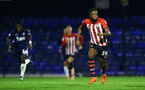 SOUTHEND, ENGLAND - NOVEMBER 14: Jonathan Afolabi (right) of Southampton FC during the Checkatrade Trophy match between Southend United and Southampton FC U21s pictured at Roots Hall on November 14, 2018 in Southend, England. (Photo by James Bridle - Southampton FC/Southampton FC via Getty Images)