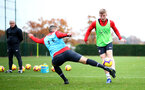 SOUTHAMPTON, ENGLAND - NOVEMBER 15: Matt Targett(R) and Oriol Romeu(L) during a Southampton FC training session at the Staplewood Campus on November 15, 2018 in Southampton, England. (Photo by Matt Watson/Southampton FC via Getty Images)