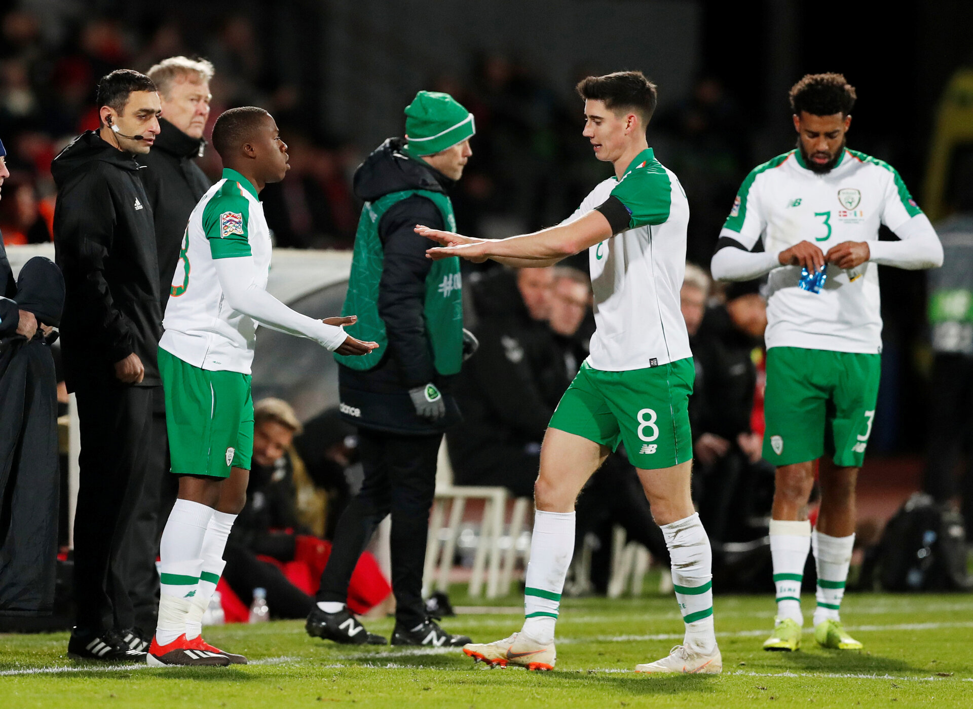 Soccer Football - UEFA Nations League - League B - Group 4 - Denmark v Republic of Ireland - Ceres Park, Aarhus, Denmark - November 19, 2018  Republic of Ireland's Michael Obafemi comes on as a substitute to replace Callum O'Dowda          Action Images via Reuters/Matthew Childs