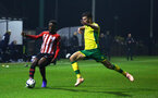 NORWICH, ENGLAND - NOVEMBER 23: Jonathan Afolabi (left) during the U23s PL2 match between Norwich City and Southampton FC pictured at Colney Training Ground on November 23, 2018 in Norwich, England. (Photo by James Bridle - Southampton FC/Southampton FC via Getty Images)