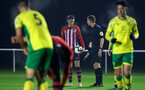 NORWICH, ENGLAND - NOVEMBER 23: Will Smallbone is awarded a free kick (middle) during the U23s PL2 match between Norwich City and Southampton FC pictured at Colney Training Ground on November 23, 2018 in Norwich, England. (Photo by James Bridle - Southampton FC/Southampton FC via Getty Images)