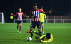 NORWICH, ENGLAND - NOVEMBER 23: Marcus Barnes (middle) during the U23s PL2 match between Norwich City and Southampton FC pictured at Colney Training Ground on November 23, 2018 in Norwich, England. (Photo by James Bridle - Southampton FC/Southampton FC via Getty Images)