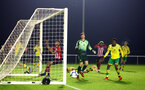 NORWICH, ENGLAND - NOVEMBER 23: Marcus Barnes, (left) Enzo Robise (middle) during the U23s PL2 match between Norwich City and Southampton FC pictured at Colney Training Ground on November 23, 2018 in Norwich, England. (Photo by James Bridle - Southampton FC/Southampton FC via Getty Images)
