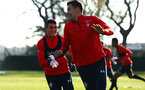 SOUTHAMPTON, ENGLAND - NOVEMBER 26: Mohamed Elyounoussi, Jan Bednarek during a first team training session at Staplewood Complex on November 26, 2018 in Southampton, England. (Photo by James Bridle - Southampton FC/Southampton FC via Getty Images)