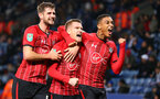 LEICESTER, ENGLAND - NOVEMBER 27: Steven Davis(centre) of Southampton celebrates with Jack Stephens(L) and Yan Valery just before the goal is ruled out by VAR during the Carabao Cup Fourth Round match between Leicester City and Southampton at The King Power Stadium on November 27th, 2018 in Leicester, England. (Photo by Matt Watson/Southampton FC via Getty Images)