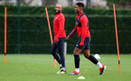 SOUTHAMPTON, ENGLAND - NOVEMBER 29: Nathan Redmond(L) and Mario Lemina during a Southampton FC training session at the Staplewood Campus on November 29, 2018 in Southampton, England. (Photo by Matt Watson/Southampton FC via Getty Images)