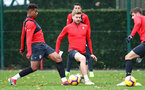 SOUTHAMPTON, ENGLAND - NOVEMBER 29: Mario Lemina(L) and Stuart Armstrong during a Southampton FC training session at the Staplewood Campus on November 29, 2018 in Southampton, England. (Photo by Matt Watson/Southampton FC via Getty Images)