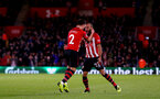 SOUTHAMPTON, ENGLAND - DECEMBER 01: Cedric(L) celebrates with team mate Nathan Redmond(R) after scoring of Southampton during the Premier League match between Southampton FC and Manchester United at St Mary's Stadium on December 1, 2018 in Southampton, United Kingdom. (Photo by Matt Watson/Southampton FC via Getty Images)