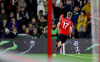 SOUTHAMPTON, ENGLAND - DECEMBER 01: Stuart Armstrong of Southampton celebrates during the Premier League match between Southampton FC and Manchester United at St Mary's Stadium on December 1, 2018 in Southampton, United Kingdom. (Photo by Matt Watson/Southampton FC via Getty Images)