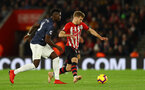 SOUTHAMPTON, ENGLAND - DECEMBER 01: Stuart Armstrong(R) of Southampton and Paul Pogba(L) of Manchester United during the Premier League match between Southampton FC and Manchester United at St Mary's Stadium on December 1, 2018 in Southampton, United Kingdom. (Photo by Matt Watson/Southampton FC via Getty Images)