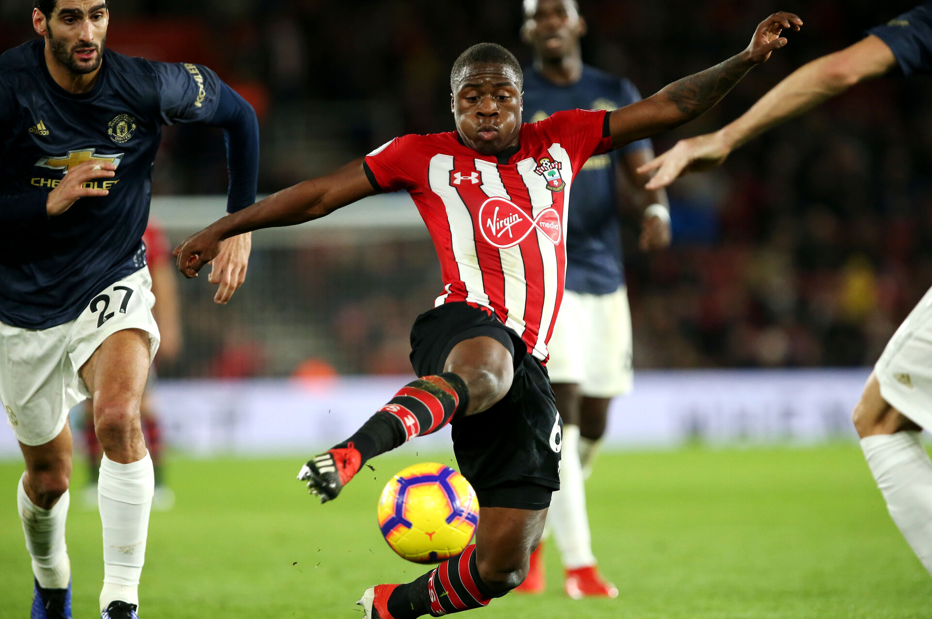 SOUTHAMPTON, ENGLAND - DECEMBER 01: Michael Obafemi of Southampton during the Premier League match between Southampton FC and Manchester United at St Mary's Stadium on December 1, 2018 in Southampton, United Kingdom. (Photo by Chris Moorhouse/Southampton FC via Getty Images)