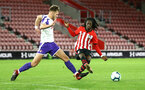 SOUTHAMPTON, ENGLAND - NOVEMBER 04: Taymar Fleary (right) during the U18's FA Youth Cup match between Southampton FC and Rotherham United pictured at St Mary's Stadium on December 4, 2018 in Southampton, England. (Photo by James Bridle - Southampton FC/Southampton FC via Getty Images)
