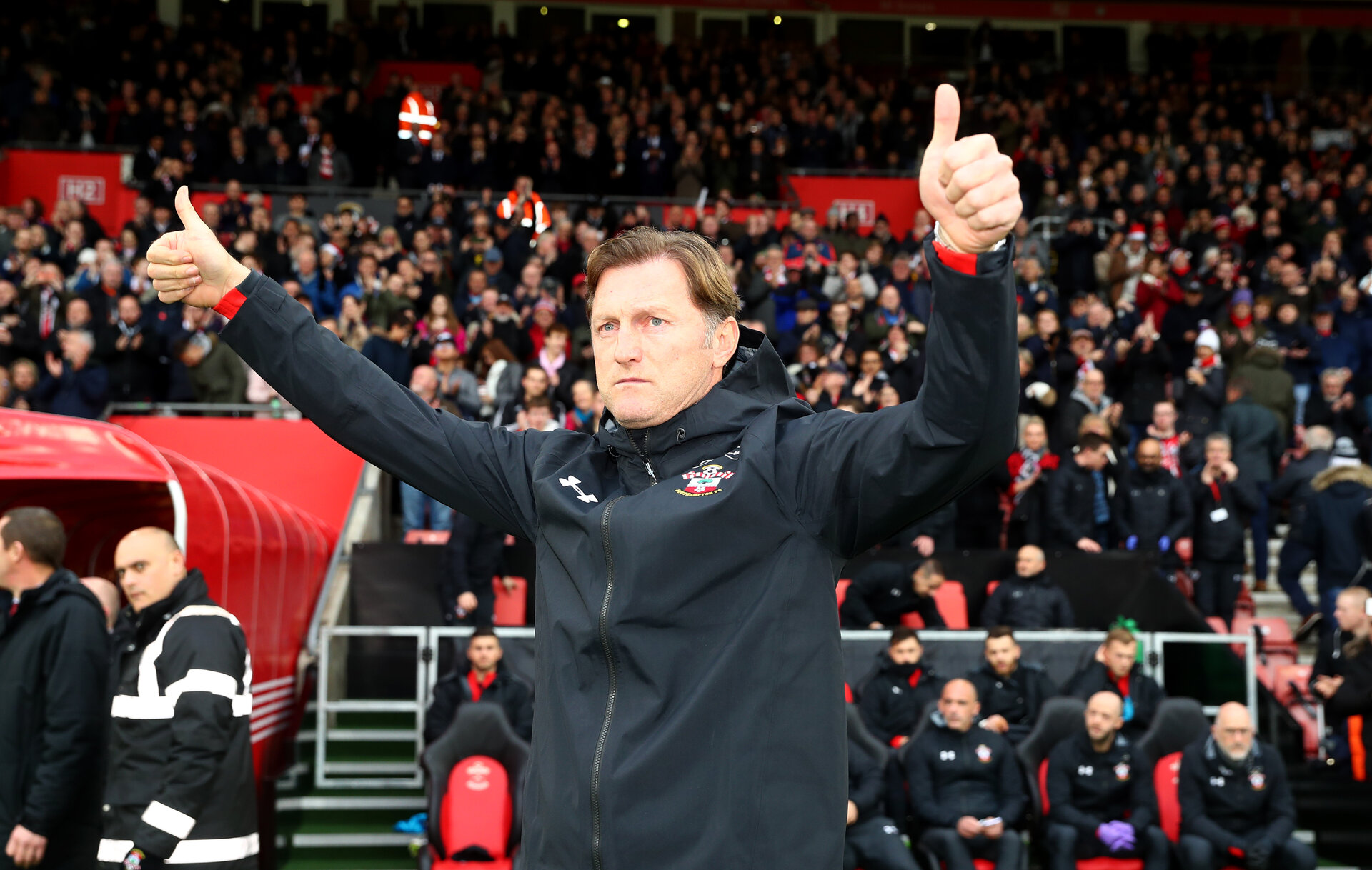 SOUTHAMPTON, ENGLAND - DECEMBER 16: Southampton manager Ralph Hasenhüttl during the Premier League match between Southampton FC and Arsenal FC at St Mary's Stadium on December 15, 2018 in Southampton, United Kingdom. (Photo by Matt Watson/Southampton FC via Getty Images)