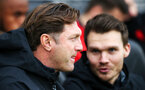 SOUTHAMPTON, ENGLAND - DECEMBER 16: Southampton manager Ralph Hasenhuttl, left, and assistant Danny Rohl during the Premier League match between Southampton FC and Arsenal FC at St Mary's Stadium on December 15, 2018 in Southampton, United Kingdom. (Photo by Chris Moorhouse/Southampton FC via Getty Images)