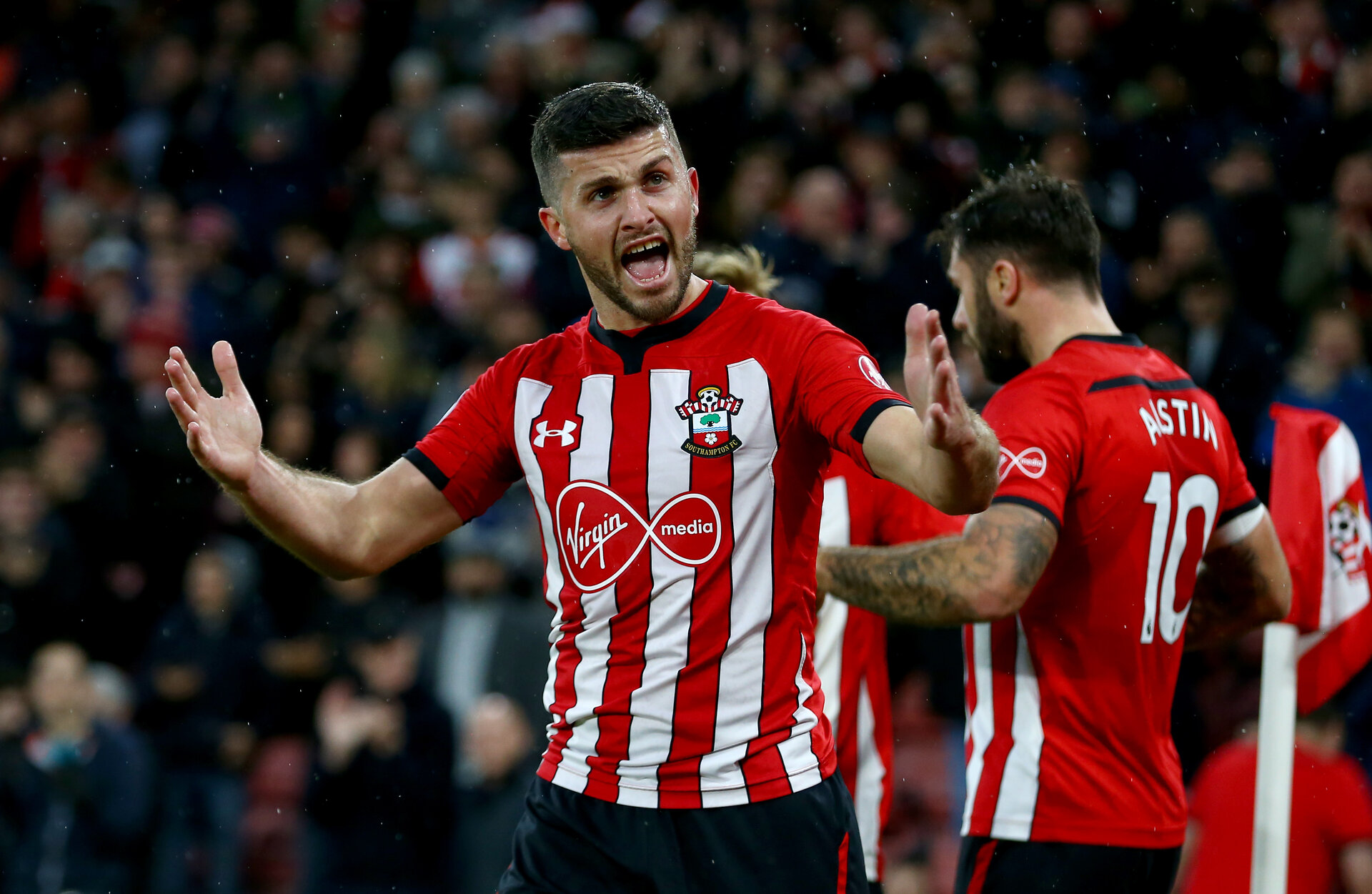 SOUTHAMPTON, ENGLAND - DECEMBER 16: Shane Long of Southampton during the Premier League match between Southampton FC and Arsenal FC at St Mary's Stadium on December 15, 2018 in Southampton, United Kingdom. (Photo by Matt Watson/Southampton FC via Getty Images)