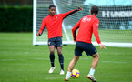 SOUTHAMPTON, ENGLAND - DECEMBER 19: LtoR Kayne Ramsay, Manolo Gabbiadini during a Southampton FC training session at Staplewood Complex on December 19, 2018 in Southampton, England. (Photo by James Bridle - Southampton FC/Southampton FC via Getty Images)