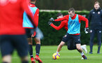 SOUTHAMPTON, ENGLAND - DECEMBER 19: James Ward-Prowse (right) of Southampton FC during a training session at Staplewood Complex on December 19, 2018 in Southampton, England. (Photo by James Bridle - Southampton FC/Southampton FC via Getty Images)