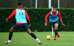 SOUTHAMPTON, ENGLAND - DECEMBER 19: Yan Valery (right) during a training session at Staplewood Complex on December 19, 2018 in Southampton, England. (Photo by James Bridle - Southampton FC/Southampton FC via Getty Images)