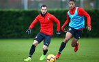 SOUTHAMPTON, ENGLAND - DECEMBER 19: LtoR Cedric, Yan Valery during a training session at Staplewood Complex on December 19, 2018 in Southampton, England. (Photo by James Bridle - Southampton FC/Southampton FC via Getty Images)