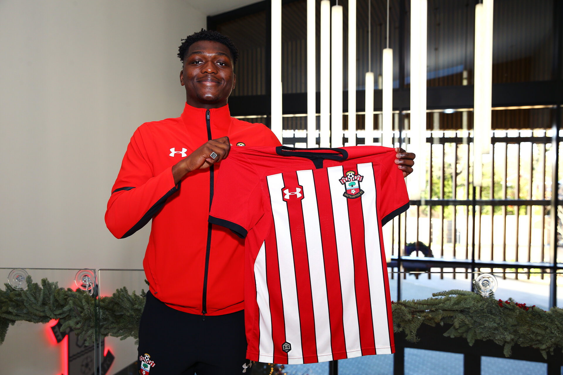 SOUTHAMPTON, ENGLAND - DECEMBER 20:  Allan TChaptchet after signing his professional contract pictured at Southampton FC at Staplewood Training Ground on December 17, 2018 in Southampton, United Kingdom. (Photo by James Bridle - Southampton FC/Southampton FC via Getty Images)