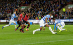 HUDDERSFIELD, ENGLAND - DECEMBER 22:  Michael Obafemi of Southampton scores his teams third goal during the Premier League match between Huddersfield Town and Southampton FC at John Smith's Stadium on December 22, 2018 in Huddersfield, United Kingdom. (Photo by Matt Watson/Southampton FC via Getty Images)