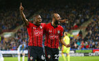 HUDDERSFIELD, ENGLAND - DECEMBER 22:  Michael Obafemi(L) and Nathan Redmond(R) of Southampton celebrate during the Premier League match between Huddersfield Town and Southampton FC at John Smith's Stadium on December 22, 2018 in Huddersfield, United Kingdom. (Photo by Matt Watson/Southampton FC via Getty Images)