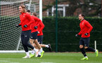SOUTHAMPTON, ENGLAND - DECEMBER 25: Jannik Vestergaard(L) and Cedric Soares during a Southampton FC training session at the Staplewood Campus on December 25, 2018 in Southampton, England. (Photo by Matt Watson/Southampton FC via Getty Images)
