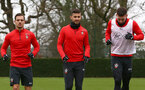 SOUTHAMPTON, ENGLAND - DECEMBER 25: L to R Cedric Soares, Shane Long and Pierre-Emile Hojbjerg during a Southampton FC training session at the Staplewood Campus on December 25, 2018 in Southampton, England. (Photo by Matt Watson/Southampton FC via Getty Images)