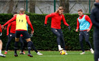 SOUTHAMPTON, ENGLAND - DECEMBER 25: Jannik Vestergaard(centre) during a Southampton FC training session at the Staplewood Campus on December 25, 2018 in Southampton, England. (Photo by Matt Watson/Southampton FC via Getty Images)