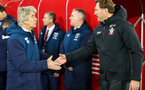 SOUTHAMPTON, ENGLAND - DECEMBER 27:  Manuel Pellegrini and Ralph Hasenhuttl (right) during the Premier League match between Southampton FC and West Ham United at St Mary's Stadium on December 26, 2018 in Southampton, United Kingdom. (Photo by Chris Moorhouse/Southampton FC via Getty Images)