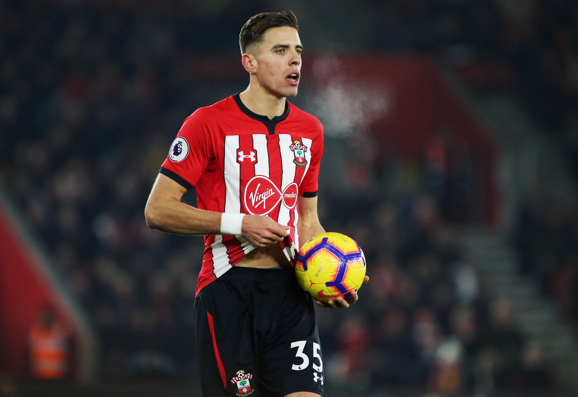 SOUTHAMPTON, ENGLAND - DECEMBER 27: Jan Bednarek during the Premier League match between Southampton FC and West Ham United at St Mary's Stadium on December 26, 2018 in Southampton, United Kingdom. (Photo by Chris Moorhouse/Southampton FC via Getty Images)