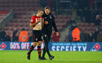 SOUTHAMPTON, ENGLAND - DECEMBER 27: LtoR Oriol Romeu, Ralph Hasenhuttl during the Premier League match between Southampton FC and West Ham United at St Mary's Stadium on December 27, 2018 in Southampton, United Kingdom. (Photo by James Bridle - Southampton FC/Southampton FC via Getty Images)