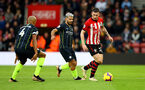 SOUTHAMPTON, ENGLAND - DECEMBER 30: Pierre-Emile Hojbjerg(R) of Southampton under pressure from Sergio Aguero of Manchester City during the Premier League match between Southampton FC and Manchester City at St Mary's Stadium on December 30, 2018 in Southampton, United Kingdom. (Photo by Matt Watson/Southampton FC via Getty Images)