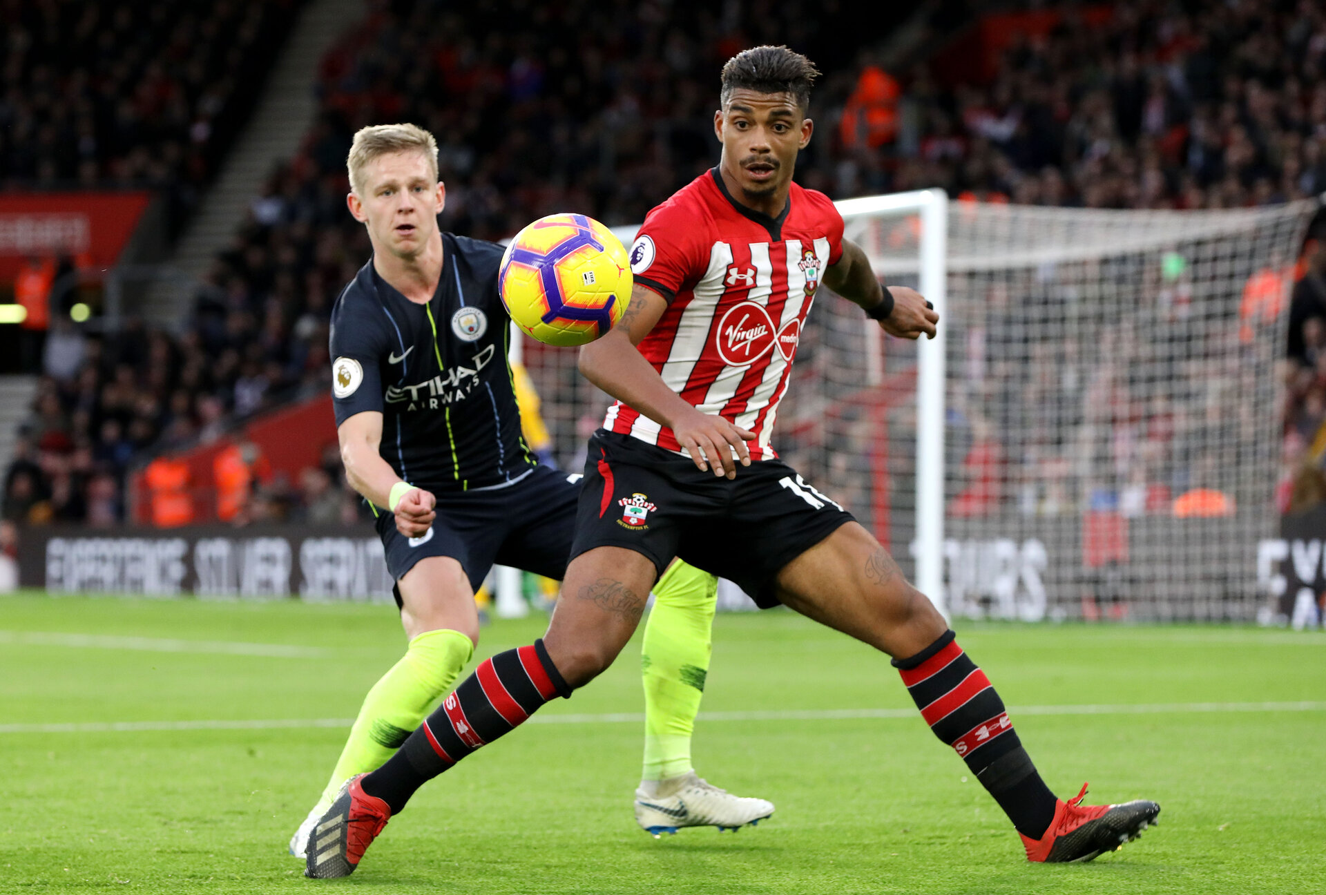 SOUTHAMPTON, ENGLAND - DECEMBER 30: Mario Lemina during the Premier League match between Southampton FC and Manchester City at St Mary's Stadium on December 29, 2018 in Southampton, United Kingdom. (Photo by Chris Moorhouse/Southampton FC via Getty Images)