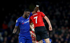 LONDON, ENGLAND - JANUARY 02: Antonio Rudiger(L) of Chelsea fouls Shane Long of Southampton during the Premier League match between Chelsea FC and Southampton FC at Stamford Bridge on January 02, 2019 in London, United Kingdom. (Photo by Matt Watson/Southampton FC via Getty Images)