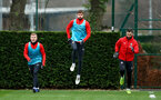 SOUTHAMPTON, ENGLAND - JANUARY 03: L to R Matt Targett, Jack Stephens and Charlie Austin during a Southampton FC training session at the Staplewood Campus on January 03, 2019 in Southampton, England. (Photo by Matt Watson/Southampton FC via Getty Images)