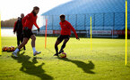SOUTHAMPTON, ENGLAND - JANUARY 08: Jannik Vestergaard(L) and Marcus Barnes during a Southampton FC training session at the Staplewood Campus on January 08, 2019 in Southampton, England. (Photo by Matt Watson/Southampton FC via Getty Images)
