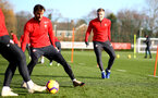 SOUTHAMPTON, ENGLAND - JANUARY 08: Matt Targett(R) during a Southampton FC training session at the Staplewood Campus on January 08, 2019 in Southampton, England. (Photo by Matt Watson/Southampton FC via Getty Images)