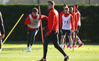 SOUTHAMPTON, ENGLAND - JANUARY 09:  Sam Gallagher (left) during a Southampton FC training session at Staplewood Training Ground on January 09, 2019 in Southampton, United Kingdom. (Photo by James Bridle - Southampton FC/Southampton FC via Getty Images)