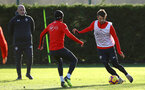 SOUTHAMPTON, ENGLAND - JANUARY 09:  LtoR Nathan Redmond takes on team mate Manolo Gabbiadini during a Southampton FC training session at Staplewood Training Ground on January 09, 2019 in Southampton, United Kingdom. (Photo by James Bridle - Southampton FC/Southampton FC via Getty Images)
