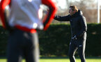 SOUTHAMPTON, ENGLAND - JANUARY 09:  Ralph Hasenhuttl (right) during a Southampton FC training session at Staplewood Training Ground on January 09, 2019 in Southampton, United Kingdom. (Photo by James Bridle - Southampton FC/Southampton FC via Getty Images)
