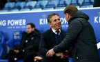 LEICESTER, ENGLAND - JANUARY 12: Claude Puel(L) and Ralph Hasenhuttl during the Premier League match between Leicester City and Southampton FC at The King Power Stadium on January 12, 2019 in Leicester, United Kingdom. (Photo by Matt Watson/Southampton FC via Getty Images)