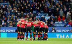 LEICESTER, ENGLAND - JANUARY 12: Southampton players huddle during the Premier League match between Leicester City and Southampton FC at The King Power Stadium on January 12, 2019 in Leicester, United Kingdom. (Photo by Matt Watson/Southampton FC via Getty Images)