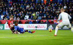 LEICESTER, ENGLAND - JANUARY 12: Stuart Armstrong(L) of Southampton shoots at goal during the Premier League match between Leicester City and Southampton FC at The King Power Stadium on January 12, 2019 in Leicester, United Kingdom. (Photo by Matt Watson/Southampton FC via Getty Images)