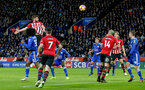 LEICESTER, ENGLAND - JANUARY 12: Jack Stephens of Southampton heads at goal during the Premier League match between Leicester City and Southampton FC at The King Power Stadium on January 12, 2019 in Leicester, United Kingdom. (Photo by Matt Watson/Southampton FC via Getty Images)